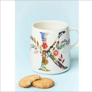 ANTHROPOLOGIE Starla M. Halfmann Floral Initial K Painted Coffee Mug Excellent